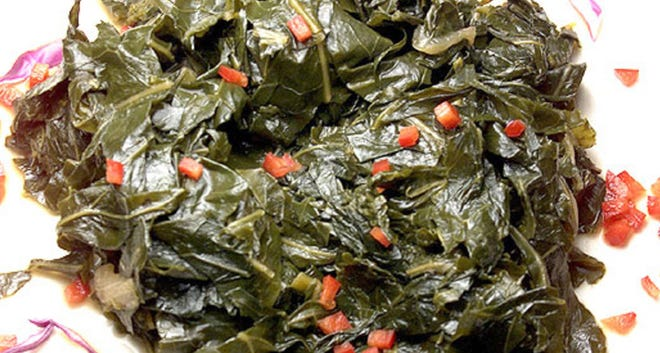 These collards are sweet from tons of honey used in the braise.