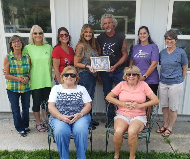 Members of both the Henry County Humane Society of Kewanee and Kayla 4 Kritters met on Saturday to inspect the completed all purpose cat room at the Kewanee Shelter. The cat room addition was made possible by a $10,000 donation from K4K in 2019. Shown, from left, back row, Julie Kaufman, HCHS board member, Louise Harrison, HCHS board president, Tracy Larson, K4K, Lisa Bass, proprietor of K4K, Wally Bass, Chris Gustafson, HCHS board member, and Jill Kelman, HCHS board member. Front row, from left, Carole Knighton and Julie Bell with K4K.