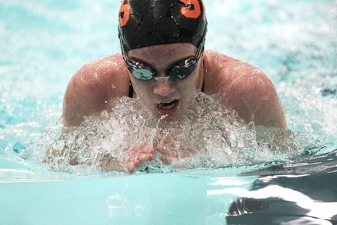 Katie Strawser of Sturgis took first place in the 100 breaststroke on Tuesday.