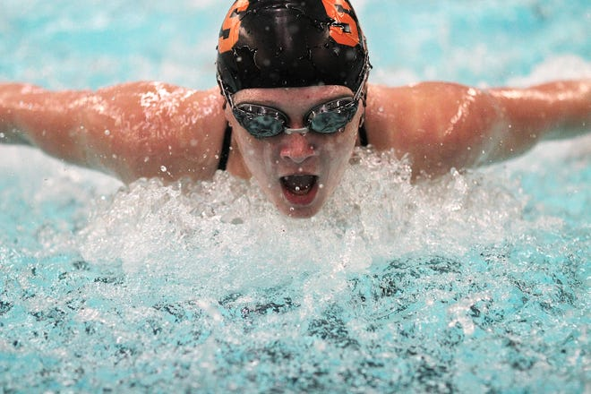Kaylee Draper won four races on Tuesday, including the 100 butterfly.