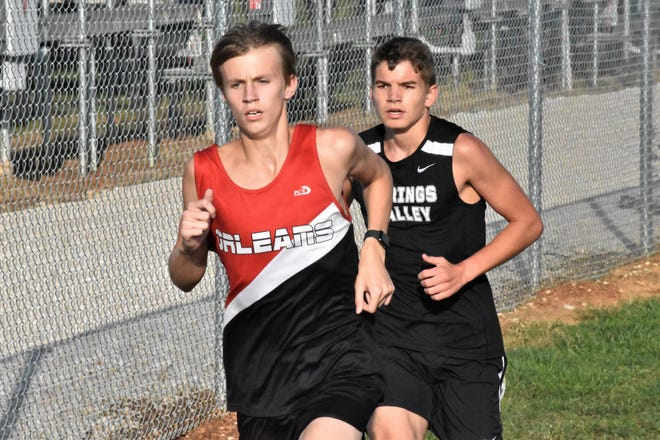 Orleans' Bryce Jones and Springs Valley's Alan Marshall lead the pack early in the race. Jones would ultimately win in a landslide while Marshall finished third.