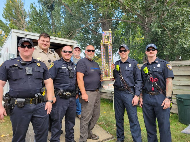 Back row from left, Deputy Shane Yost from Codington County Sheriff's Office, Bob Lee from Dakota Sportsman; front row from left, Sgt. Matt Hegg and Cpl. Austin Nelson from the Watertown Police Department, Dean Siem from Dakota Sportsman, Jake Jorgenson and Isaiah Hall from Watertown Fire Rescue.