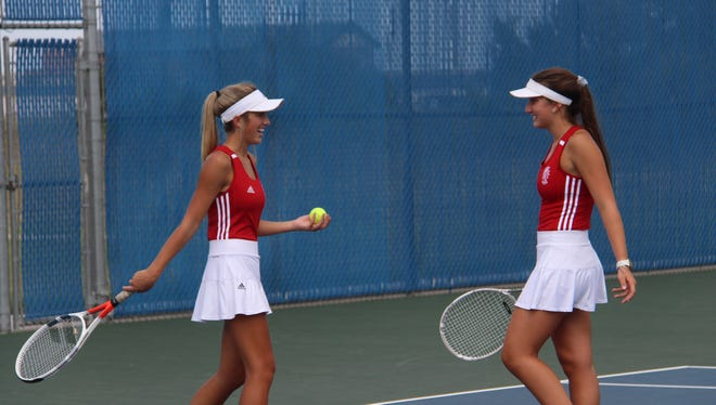 Lyric Cornejo (left) and Jensen Lynnes (right) at the Goddard Tennis Tournament