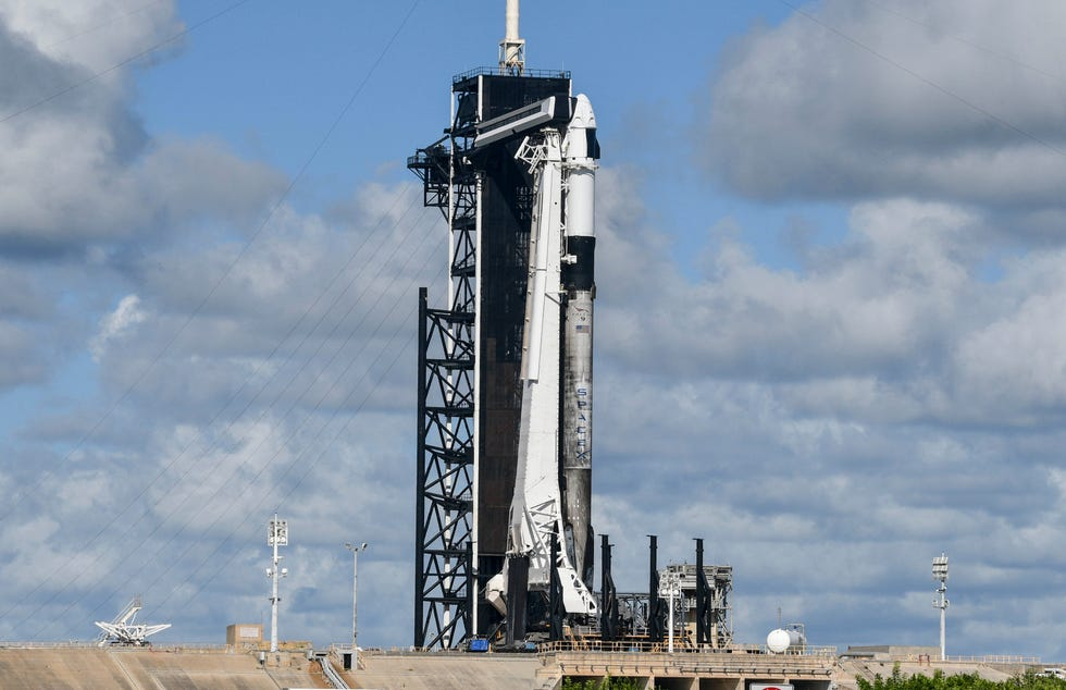 A SpaceX Falcon 9 rocket sits on Pad 39A at Kennedy Space Center Wednesday, Sept. 15, 2021.
