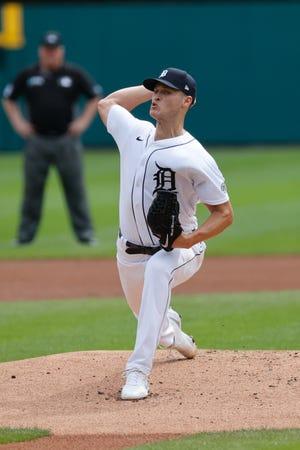 Cầu thủ ném bóng bắt đầu Matt Manning (25 tuổi) của Detroit Tigers ném bóng trong hiệp đầu tiên với Milwaukee Brewers tại Comerica Park vào thứ Tư, ngày 15 tháng 9 năm 2021.