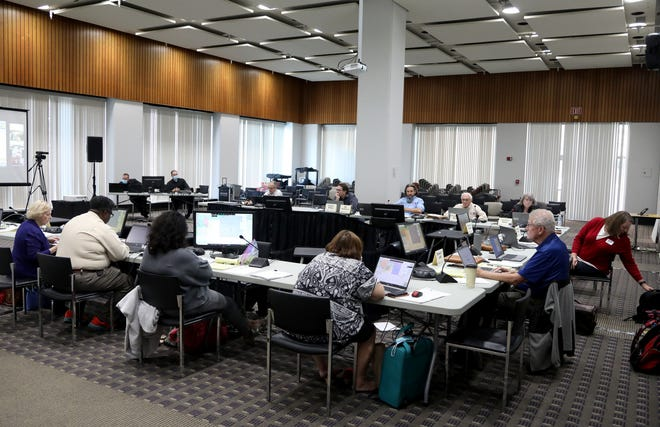 Members of the Michigan Independent Citizens Redistricting Commission met at Cadillac Place in Detroit on September 1, 2021. The commission talked and worked with mapping consultants on drawing lines for various voting districts in the state of Michigan.