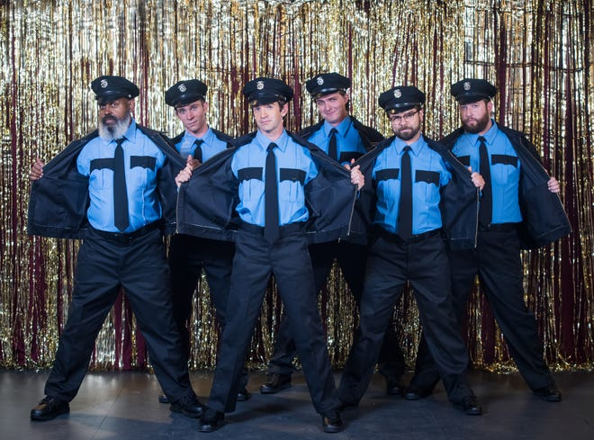 """Skylight Music Theatre returns to live performance with a production of """"The Full Monty."""" From left:  Lee Palmer, Jordan Arrasmith, Dan DeLuca, Joey Chelius, Zach Thomas Woods and Nathan Marina."""