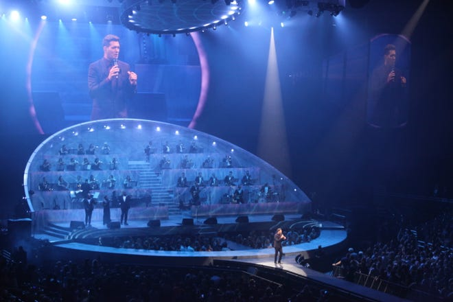 Michael Bublé performs at Fiserv Forum on Sept. 14, 2021, the first concert at the arena in 552 days.