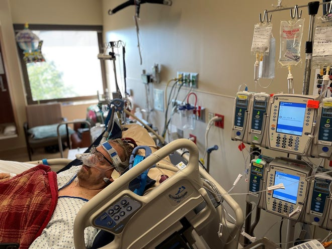 Truck driver Joe Gammon has been receiving ECMO therapy at Ascension Saint Thomas Hospital in Nashville, since mid-August, allowing his blood to be oxygenated by a machine by his bed. The life support is giving his lungs time to heal from COVID-19, which he contracted in July. He now encourages others to get vaccinated.