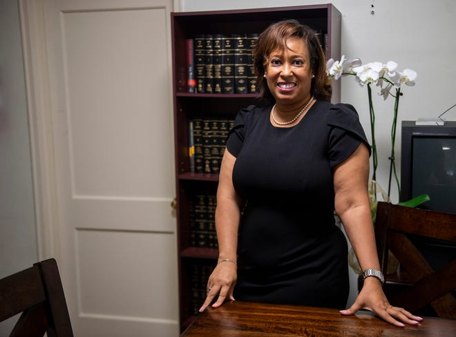 Penni McClammy poses for a portrait in her office in Montgomery, Ala., on Wednesday, Sept. 15, 2021. McClammy plans to run for the House District 76 seat, the same seat held by her late father, Thad McClammy.