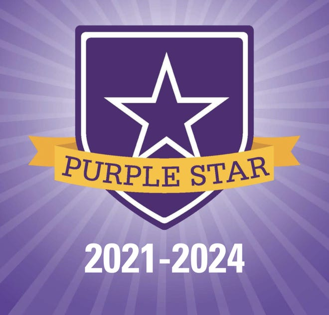 The Purple Star Award is presented to schools that have distinguished themselves with support of students and families connected to the military.