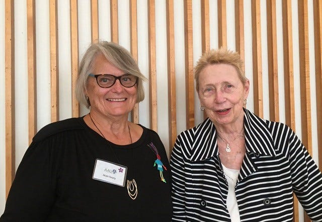 Jean Ivory (left) and Sally Doty are leaders of the American Association of University Women. Ivory is the incoming president following in the role that Doty has held.  Their leadership will continue the promote the fine programs and services if the organization for the past 101 years.