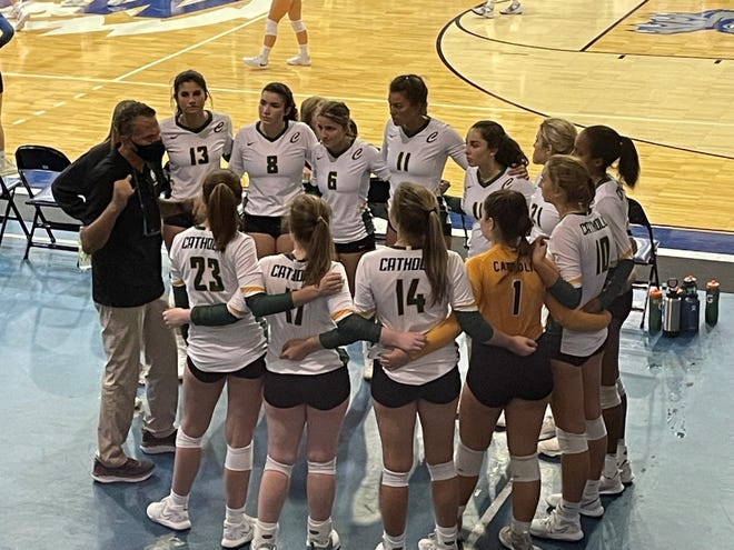Pensacola Catholic head coach Giulio Simonelli talks to his team prior to its match against Booker T. Washington on Tuesday, Sept. 14, 2021 from the Ronnie and Janis Bond Gym