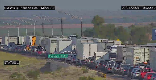 Traffic backed up after a fatal wrong-way crash closed Interstate 10 near Picacho Peak.