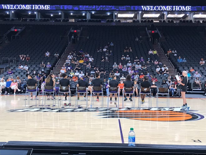 Phoenix Mercury players answering fan questions after an open practice Tuesday at Footprint Center.