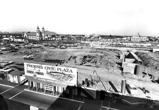 The Phoenix Civic Plaza goes under construction in 1969.