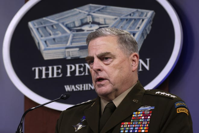 US Chairman of the Joint Chiefs of Staff General. Mark Milley participates in a news briefing at the Pentagon May 6, 2021 in Arlington, Virginia.  (Alex Wong/Getty Images/TNS)