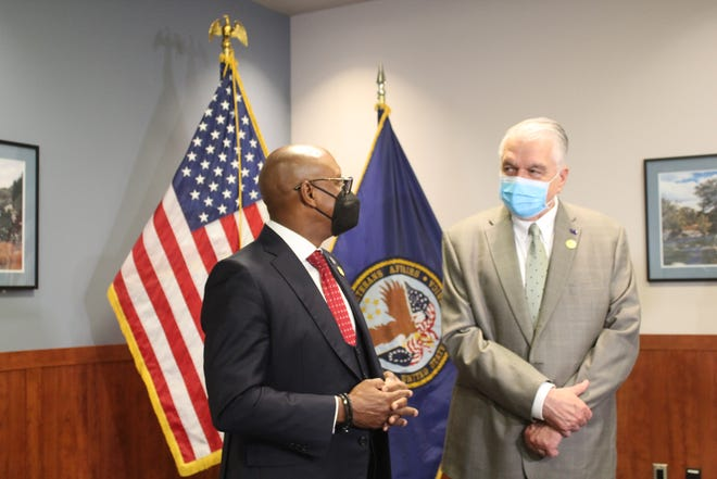 Nevada Governor Steve Sisolak and Deputy Secretary of Veteran Affairs Donald Remy toured Reno's VA Sierra Health Care System on Tuesday.