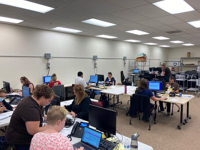 A call center was set up at the Shasta County elections office in Redding on Tuesday for the gubernatorial recall election.