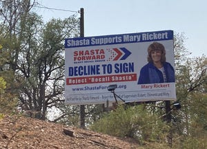 A billboard rejecting the recall of three Shasta County supervisors sits along Interstate 5 between Redding and Shasta Lake.