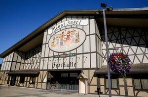 The Mt. Angel Festhalle prepares for Oktoberfest on Tuesday, Sept. 14, 2021 in Mt. Angel, Ore. Oktoberfest will return starting Thursday, Sept. 16.
