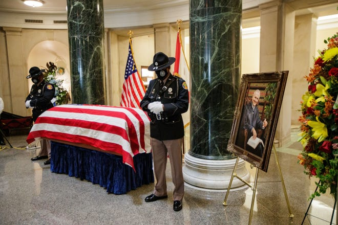 Former Florida Chief Justice Stephen H. Grimes lies in state  in the rotunda of the Florida Supreme Court on Wednesday, Sept. 15, 2021,