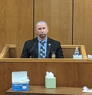 Wichita Falls police investigator Walter Vermillion testifies Tuesday during Christopher Lynn Petty's aggravated sexual assault trial.