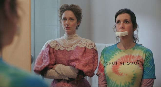 """Judy Greer as Lady Wadsworth and Melanie Lynskey as Hannah in """"Lady of the Manor,"""" a new comedy from brothers Justin and Christian Long."""