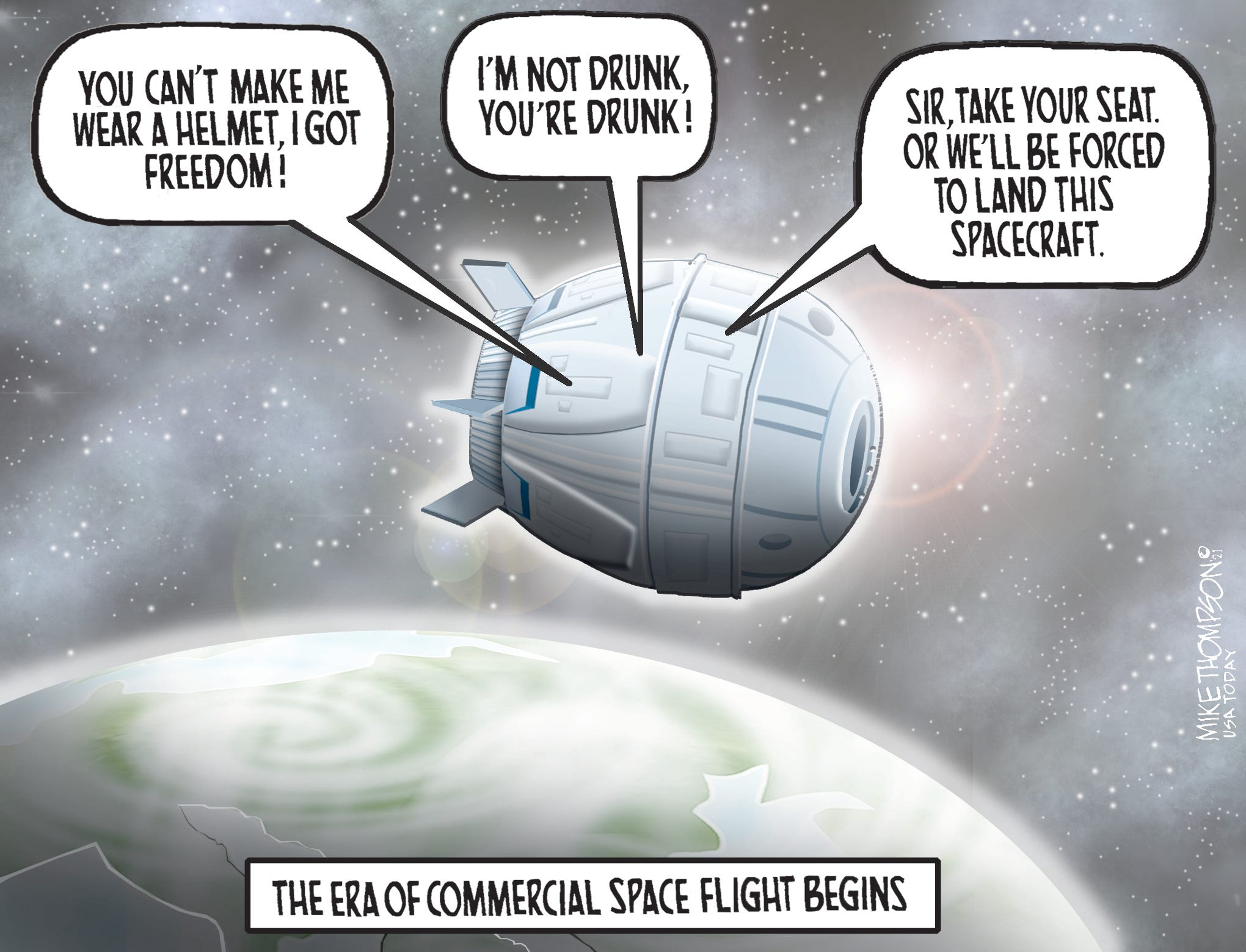 Caption:  The era of commercial space flight begins.  Image:  Voices coming from space capsule: