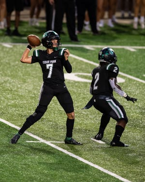 Cedar Park quarterback Joshua Pell, setting to throw versus Round Rock earlier in the season, helped lead the Timberwolves to a 45-13 win Thursday. Pell Pell threw for 251 yards in the victory