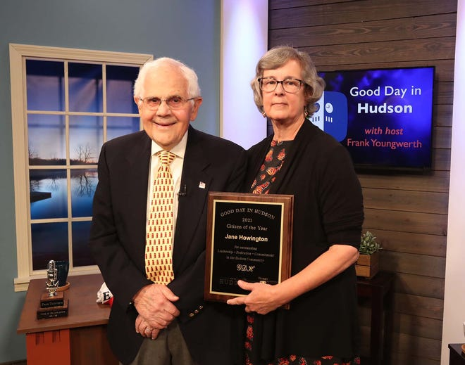 Hudson City Manager Jane Howington was named the 2021 Good Day in Hudson Citizen of the Year by Good Day in Hudson host Frank Youngwerth during a taping of the program on Hudson Community Television in September. The show where Howington received the award is airing on multiple occasions in October.
