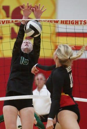 Nordonia Sophie Heiser blocks a hit by Brecksville Broadview Heights CC Guggenbiller during the volleyball match at Brecksville Broadview Heights High School on Wednesday, Sept. 15, 2021, in Brecksville.