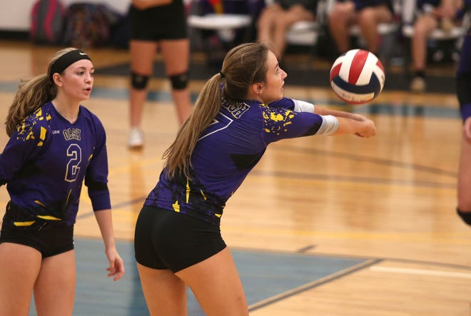OLSH's Kaleigh Constantino (7) passes the ball during the first set against Beaver County Christian School Wednesday evening at Beaver County Christian School in Beaver Falls.