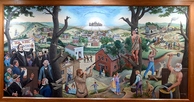 A mural painted by Sidney Larson in 1994 is one of two that adorn the walls of the second- and third-story stairways of the Boone County Courthouse. A group of Boone County attorneys wants the county commission to consider removing the murals.