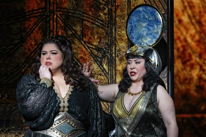 """Leah Crocetto, left, is pictured in a scene from Giuseppe Verdi's """"Aida"""" at the Sydney Opera House in Australia. Crocetto will perform Friday at the Croswell Opera House."""