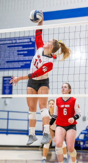 Glen Rose volleyball players Matti Young (pictured) and Aimee Flippen recorded 16 kills each in the Lady Tigers' 25-20, 25-14, 25-19 road win at Robinson on Tuesday night, and Young and Brooklynn Vara had nine kills each in a 25-8, 25-9, 25-15 win over Castleberry on Friday to run their record to 17-10 with the two-match winning streak. The Lady Tigers are back in action on Friday at 4:30 p.m. when they host Kennedale at Tiger Arena. They were originally scheduled to open district play on Tuesday with Brownwood, but that match was moved. They will host Nolan Catholic on Thursday at Tiger Arena.