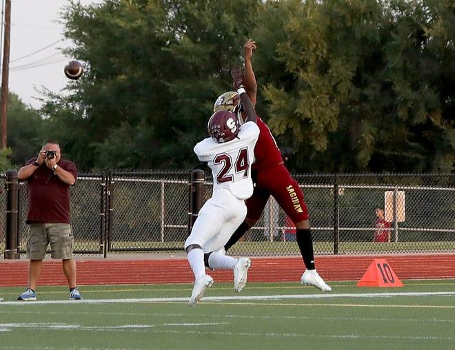 Sherman senior linebacker Isaiah Jones breaks up a pass during the Bearcats' non-district win over Saginaw. SHS hosts McKinney on Friday night.