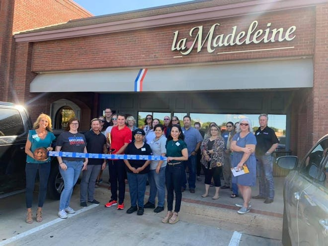 La Madeleine French Bakery & Café, 8201 Quaker Ave., #118. Holding scissors is Area Coach Steve Ferrell. Holding ribbon are Chamber Ambassadors Lisa Fraze, left, and Jessica Cano. Others pictured are Director of Operations Chris Treolar, Regional Sales Manager Cassie Nowlin, and other staff, family, friends and Lubbock Chamber Ambassadors.