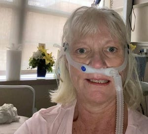 """Cynthis """"Cindee"""" Kasey, 58, died of COVID-19 on Wednesday, Sept. 15, 2021. She took this self-portrait on Sept. 4 from her hospital room at Lakeland Regional Health Medical Center's COVID unit."""