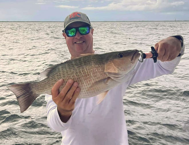 Todd Foucher of Ruskin caught this 21-inch mangrove snapper on cut bait and a Slacker Jig while fishing in lower Tampa Bay recently.