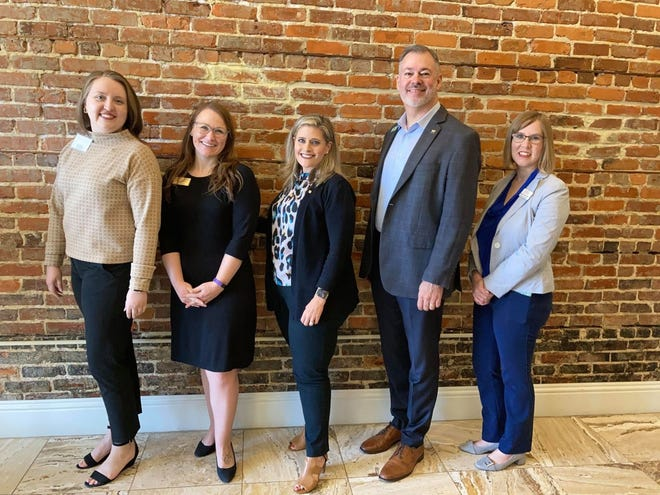 The Dick Pope Polk County chapter of the Florida Public Relations Association installed its 2021-22 board of directors. Pictured left to right are: Immediate Past President Cathryn Lacy, President Jessica Lawson, FPRA State President Devon Chestnut, President-Elect Brian West and Treasurer Erin Martinez.