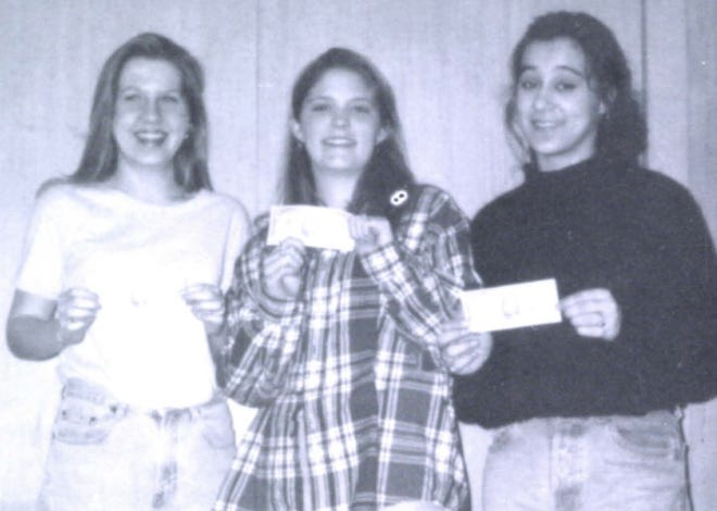 Pictures of the Past is from the 1995 Lincoln Community High School yearbook. The photo shows from left: Amber Thompson, Jenny McGinnis and Cyndee Adkins showing off their prize for winning the chili cook-off.