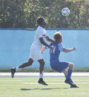 A Proctor and Whitesboro play battle for position during the first half of a match Thursday, Sept. 16, 2021 in Marcy.