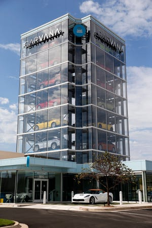 The Carvana car vending machine at 1800 W Memorial Road. The company is building a huge reconditioning and inspection center in southwest Oklahoma City.
