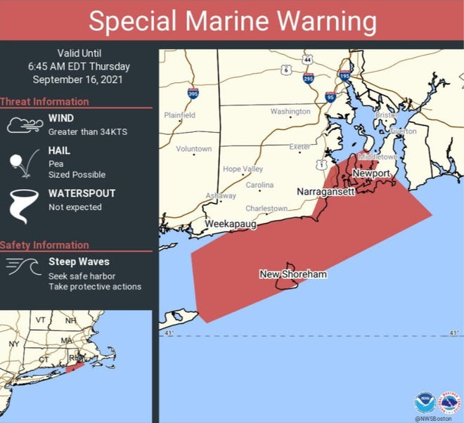 The National Weather Service issued a special marine warning for strong wind, steep waves and the possibility of hail.