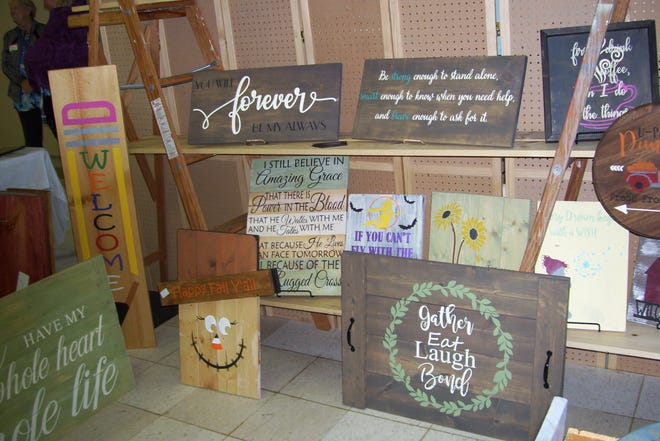 Handmade wood signs such as these are among the items that will be featured at the United Methodist Women of the LaPorte First United Methodist Church's Arts & Crafts Show on Sept. 25, 2021, at the LaPorte County Fairgrounds.