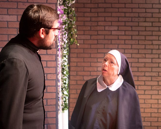 """Brock Butler, left, and Patricia Habegger star as Father Flynn and Sister Aloysius in Elkhart Civic Theatre's production of """"Doubt: A Parable"""" that will run from Sept. 17-26, 2021, at the Bristol Opera House."""