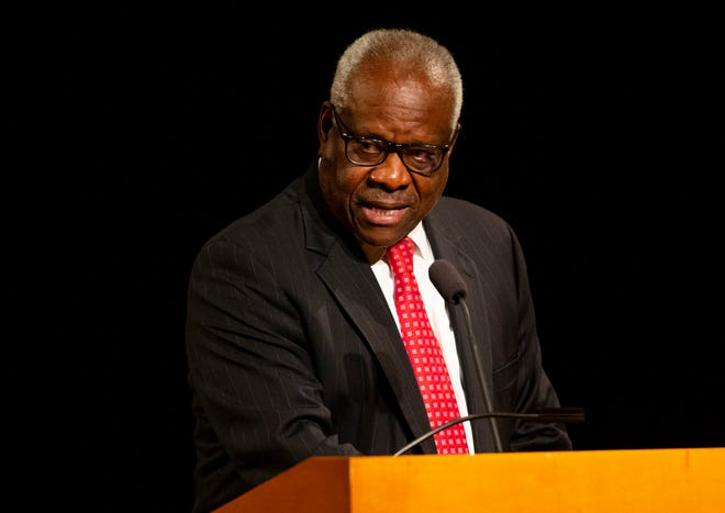 """Supreme Court Justice Clarence Thomas, during a speech at the University of Notre Dame on Thursday, lamented growing rifts in the U.S., saying, """"We just seem like we keep dividing."""""""