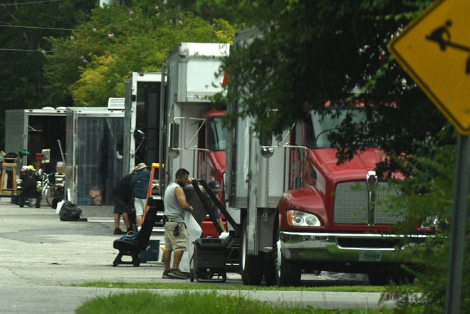 """Crews were out Thursday Sept. 9, 2021, along Dow Road at Mike Chappell Park in Carolina Beach, filming for """"The Summer I Turned Pretty."""" The show will be an Amazon Prime series once complete."""
