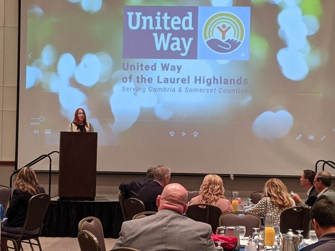 United Way of the Laurel Highlands President and CEO Karen Struble Myers speaks during the 2021 Campaign Kickoff Breakfast in Johnstown Wednesday. Greater Johnstown Superintendent Amy Arcurio was the keynote speaker. As an educator, she said that she has direct experience with the United Way's impact on children in the community. During the breakfast, the United Way announced a $1.15 million fundraising goal for the year, building on last season's delivery of $859,000 to 24 Partner Agencies that implement programming geared to tackle the region's most pressing needs. Myers has led the way since taking the helm shortly before the pandemic. She came from the Fred Rogers Center at St. Vincent College in Latrobe. Rogers's vision for children and family has given her a unique guiding light for the United Way. The organization added new Partner Agencies this year, including the Somerset County Mobile Food Bank and the Flood City Youth Academy, both are part of the vision of building a stronger, healthier community. Also added to the work is a diaper bank. This fall, the United Way will be sorting and packaging hundreds of packages of donated diapers that will be used to help families in both counties. The United Way's mission is to leverage the caring power of the community.